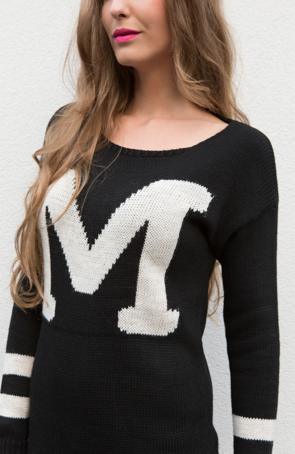 Zwart Wit Trui Dames.Musthave Sweater Black The Musthaves