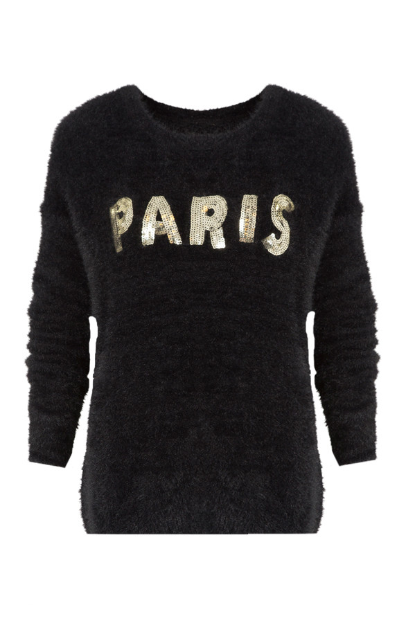 Zwarte Fluffy Trui.Fluffy Paris Trui Black The Musthaves