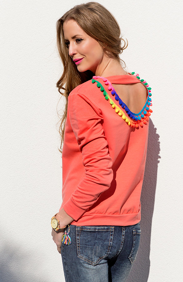 Ibiza Pompon Sweater Coral The Musthaves