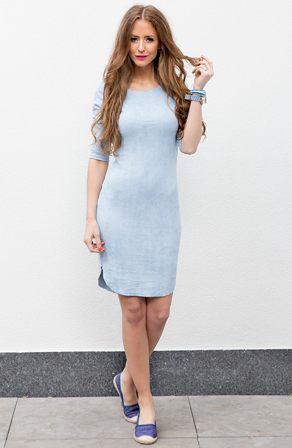 Magnifiek Suede Jurk Ice Blue | The Musthaves @DM94