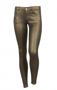 Metallic Coating Jeans Gold