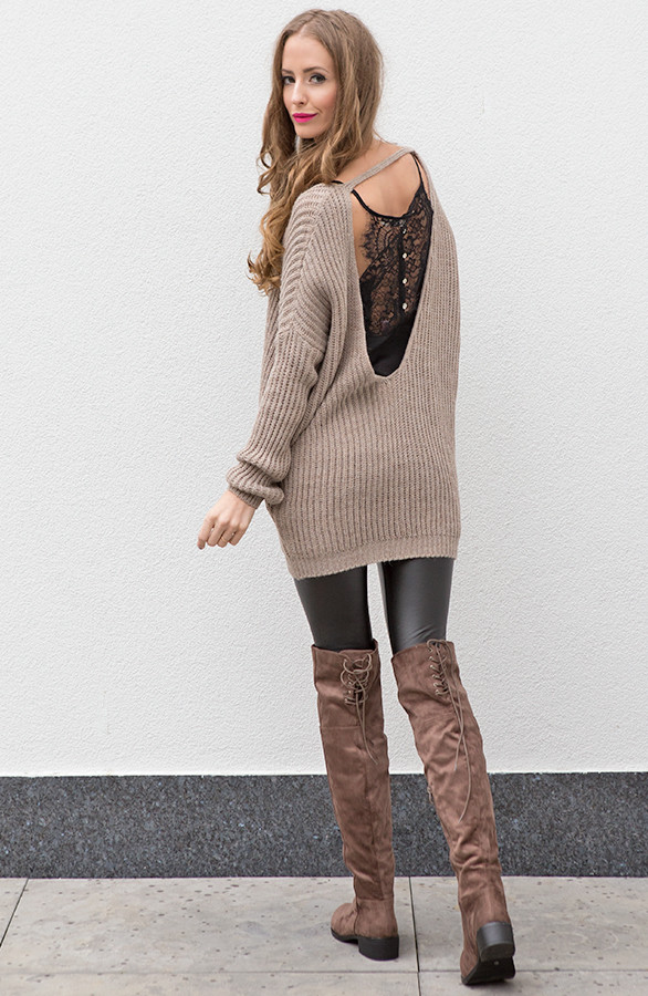 Low Back Sweater Taupe The Musthaves