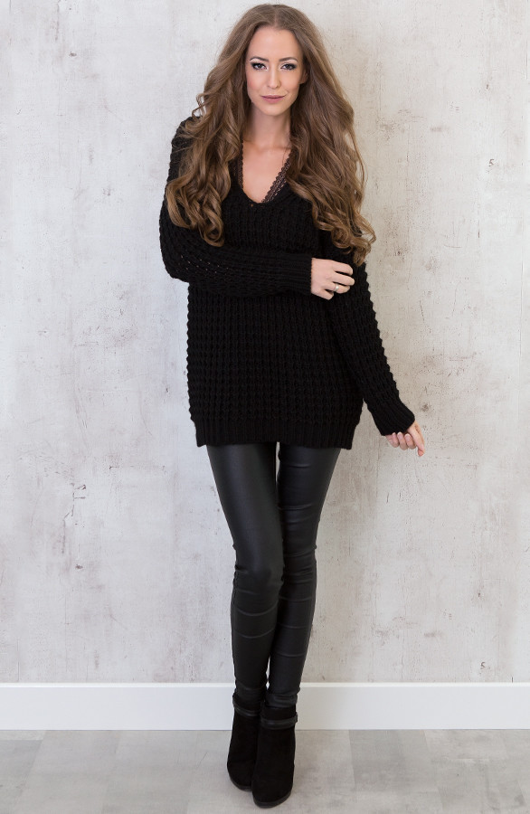 Zwarte V Hals Trui Dames.Knitted Sweater Black The Musthaves