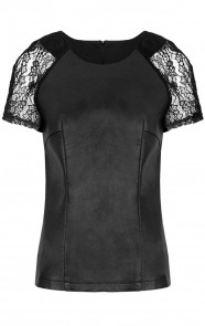 Leather Lace Sleeve Top Black