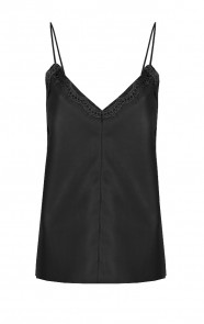 Leather Lace Top Black