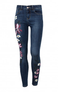 Hand Painted Flower Jeans