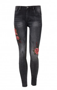 Rozen Patches Jeans Grijs