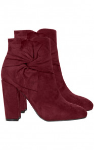 Suede-Strik-Boots-Bordeaux