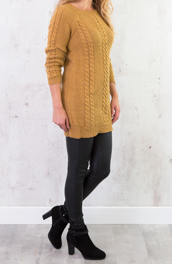 Okergele Trui Dames.Cable Knit Sweater Okergeel Themusthaves Nl