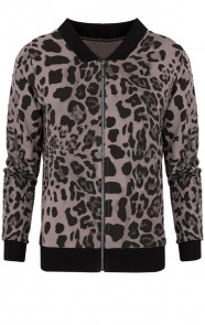Leopard Bomber Jacket Taupe
