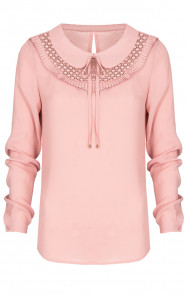 Collar Ruches Blouse Roze