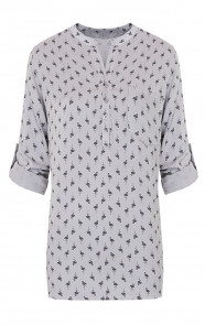 Flamingo-Print-Blouse-Grijs
