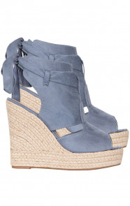 Suede Wedges Jeansblauw
