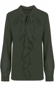 Ruches-Strik-Blouse-Legergroen