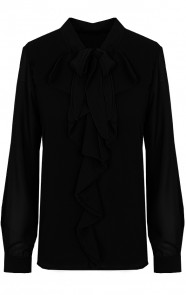 Ruches-Strik-Blouse-Zwart