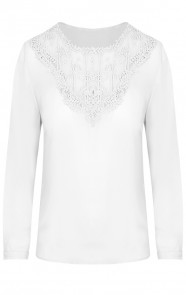 Kanten-V-Blouse-Cross-Wit