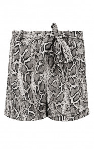 Strik-Shorts-Slangenprint-Grijs