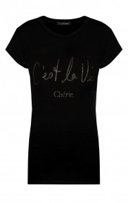 Cest-La-Vie-It-shirt-Zwart-Zilver-1