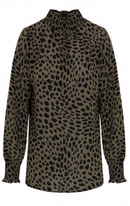Cheetah-Col-Blouse-Legergroen