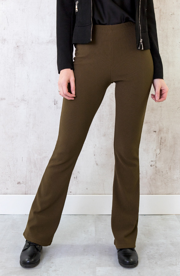 Flared-Broek-Rib-Dames-Army-1