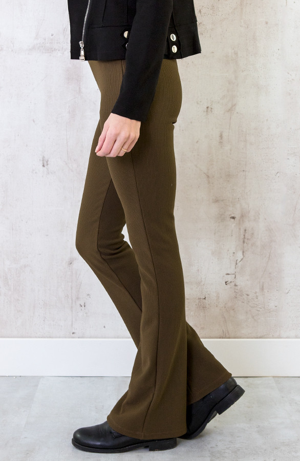 Flared-Broek-Rib-Dames-Army-2