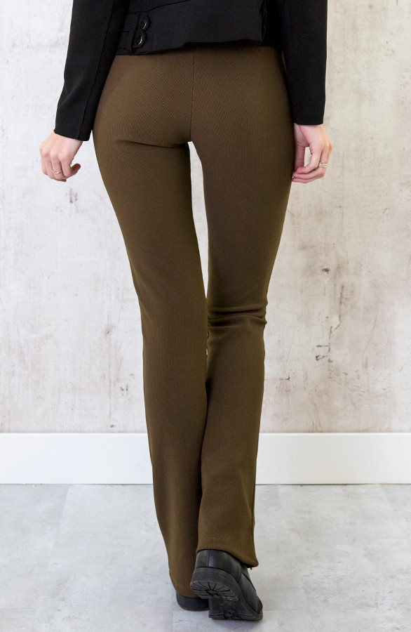 Flared-Broek-Rib-Dames-Army-3