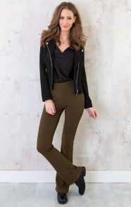 Flared-Broek-Rib-Dames-Army-4