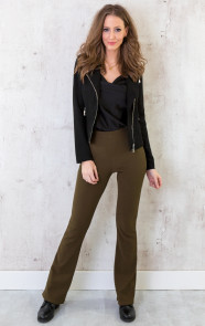 Flared-Broek-Rib-Dames-Army-6
