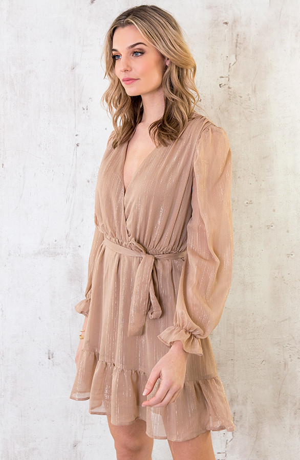 Ruches-Jurk-Deluxe-Camel-1