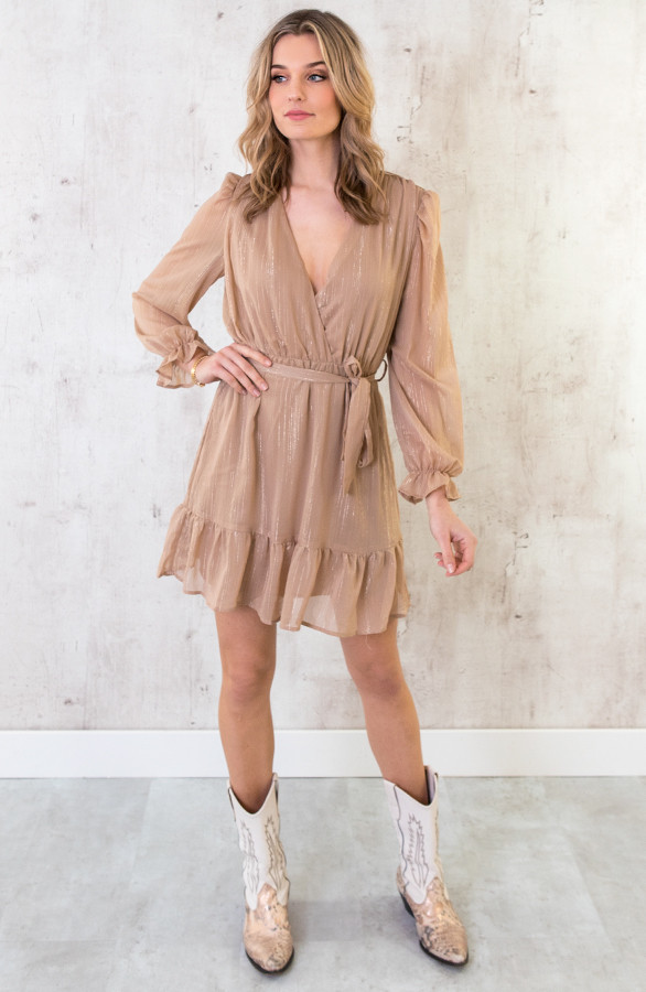 Ruches-Jurk-Deluxe-Camel-2