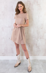 Suede-Jurk-Taupe-4