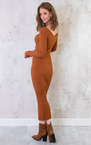 Stretch-Rib-Jurk-Cognac-3
