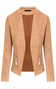 Suede-Blazer-Met-Rits-Taupe