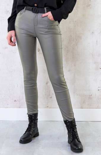 High Waist Coating Jeans Army