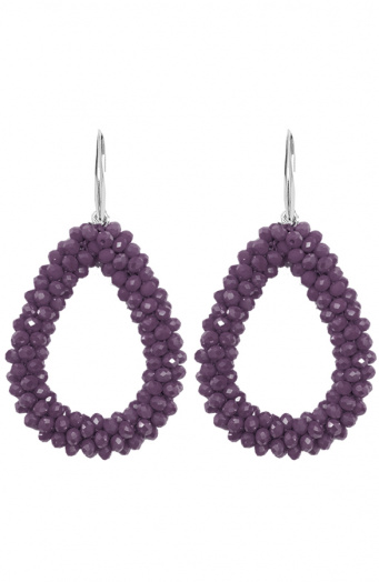 Oval Purple Oorbellen