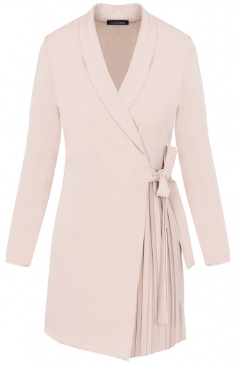 Blazer-Dress-Met-Plooien-Beige