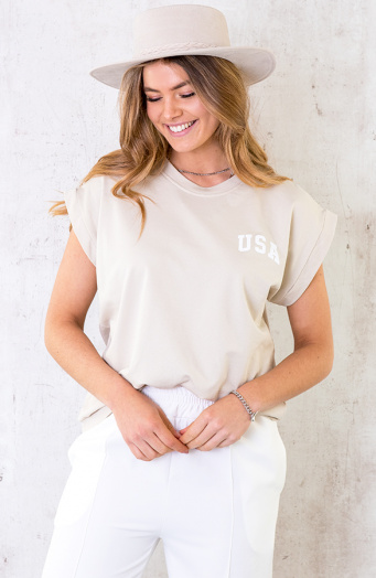 Oversized USA Top beige