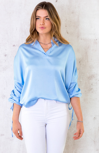 Oversized Silk Lace Blouse Jeansblauw