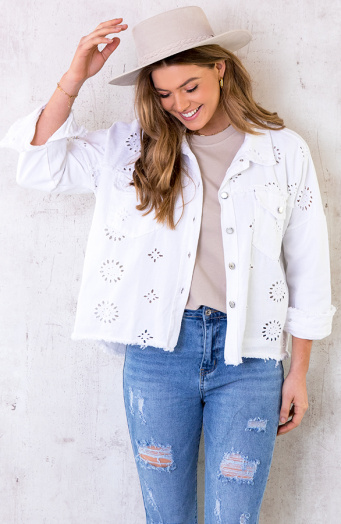 Denim Embroidery Jacket Wit