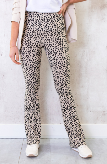 Flared Broek Panterprint Creme