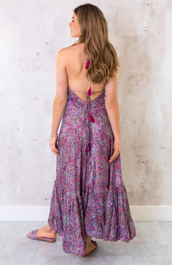Paisley Silk Dress Low Back