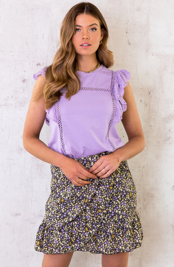 Ruches Top Embroidery Lila