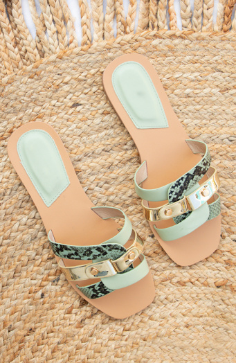 Slangenprint-Mule-Metallic-Mint-1