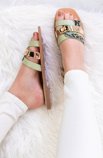 Slangenprint-Mule-Metallic-Mint