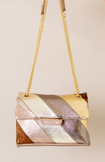 Leather Rainbow Chain Bag Small Beige