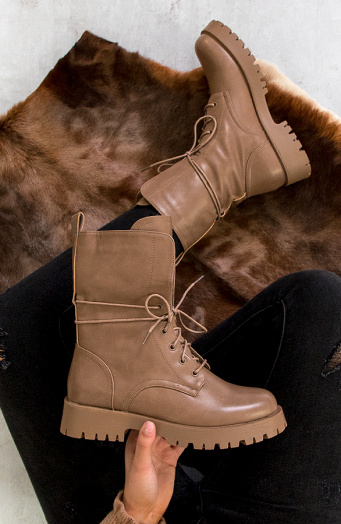 Veter-Boots-Leer-Taupe